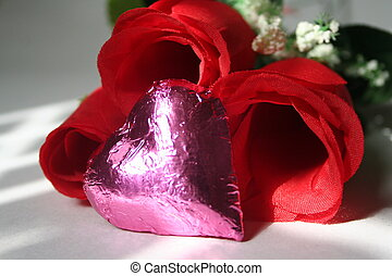Silk rose and heart