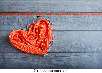 Silk scarf in the form of heart