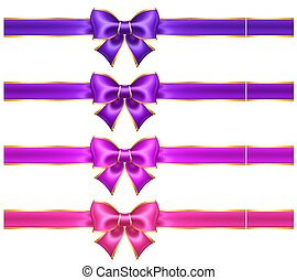 Silk ultra violet and pink bows with golden border and ribbons