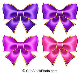 Silk ultra violet and pink bows with golden border