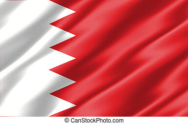 Silk wavy flag of Bahrain graphic. Wavy Bahraini flag 3D illustration. Rippled Bahrain country flag is a symbol of freedom, patriotism and independence.
