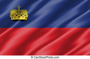 Silk wavy flag of Liechtenstein graphic. Wavy ...