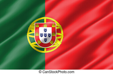 Silk wavy flag of Portugal graphic. Wavy Portugese flag illustration. Rippled Portugal country flag is a symbol of freedom, patriotism and independence.
