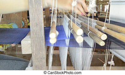 silk weaving process in a factory