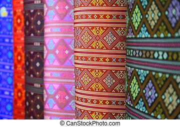 silke, färgrik, thailand