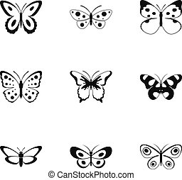 Silkmoth icons set, simple style
