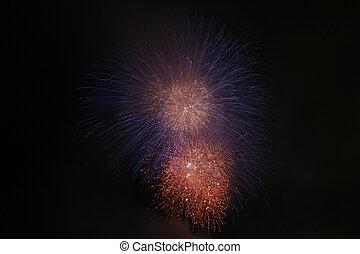 silky blue and fiery orange fireworks