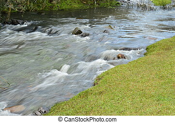 Silky water in a river landscape