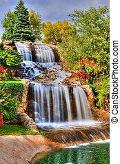 Silky Waterfall in High Dynamic Range - Steams of misty...