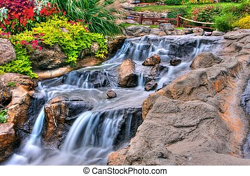 Silky Waterfall in High Dynamic Range - A small waterfall at...