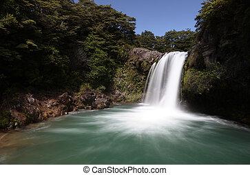 Silky Waterfall - Waterfall spills into pool below