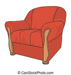 sillón, aislado, coloreado
