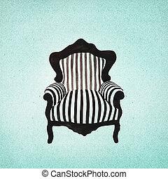 sillón, barroco, plano de fondo