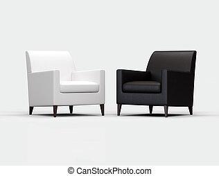 sillón, blanco, negro