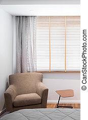 sillón, brillante, dormitorio