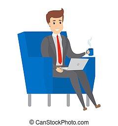 sillón, hombre de negocios, working., sentado
