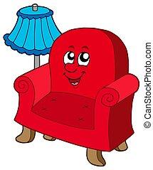 sillón, lámpara, caricatura