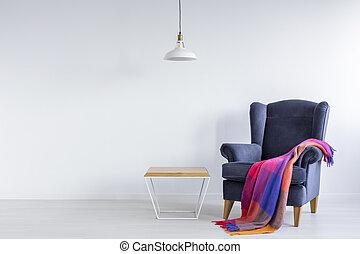 sillón, manta