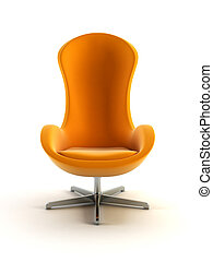 sillón, moderno, 3d, interpretación