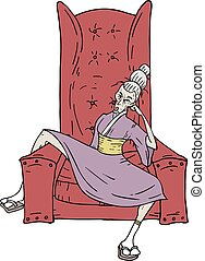sillón, mujer, ilustración