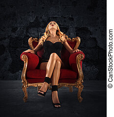 sillón, mujer, terciopelo, rojo, sensual