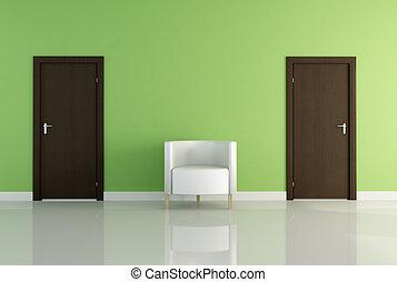 sillón, puerta, dos, uno