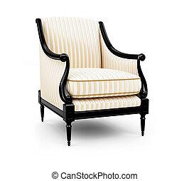 sillón, rayado, blanco, contra