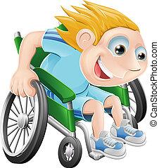sillón ruedas que compite, caricatura, hombre