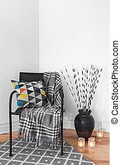 sillón, y, decoraciones, en, el, sala