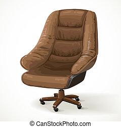 silla, aislado, blanco, grande, cuero, oficina, plano de ...