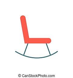 silla, aislado, icono, mecedor, muebles