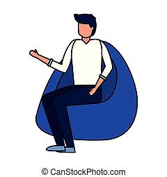 silla, beanbag, hombre que sienta