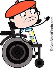silla, caricatura, rueda, artista