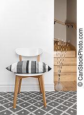 silla, cojín, habitación, escalera