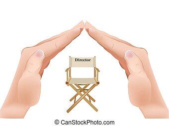 silla, con, escritura, director