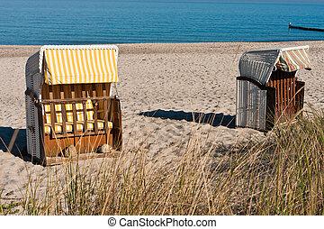 silla de la playa, en, el, océano