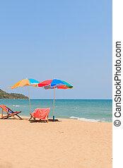 silla de la playa, paraguas