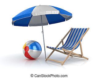 silla de la playa, pelota, paraguas
