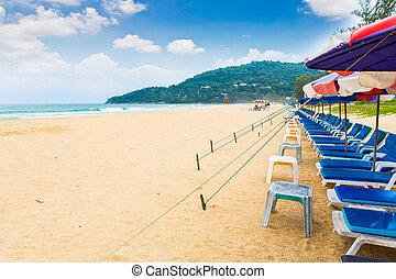 silla de la playa, y, paraguas, en, playa de arena