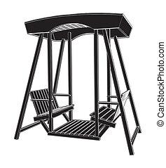 silla de madera, columpio