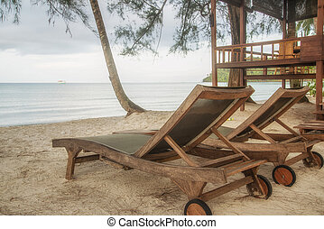 silla de madera, en, playa