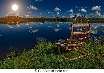 silla de madera, en, un, orilla de lago, en, ocaso