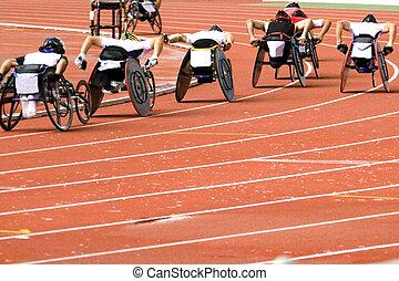 silla de ruedas, carrera, para, incapacitado
