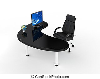 silla, encima, empresa / negocio, white.
