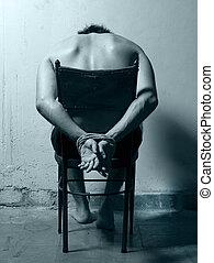 silla, hombre, frío, tonos, torturado