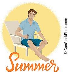 silla, hombre, playa, sentado