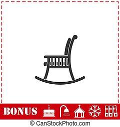 silla, icono, plano, mecedor