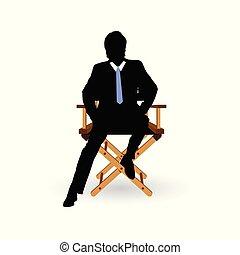 silla, ilustración del hombre, sentado