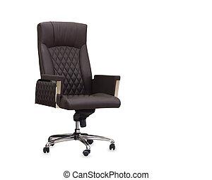 silla marrón, leather., aislado, oficina