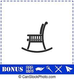 silla, mecedor, icono, plano